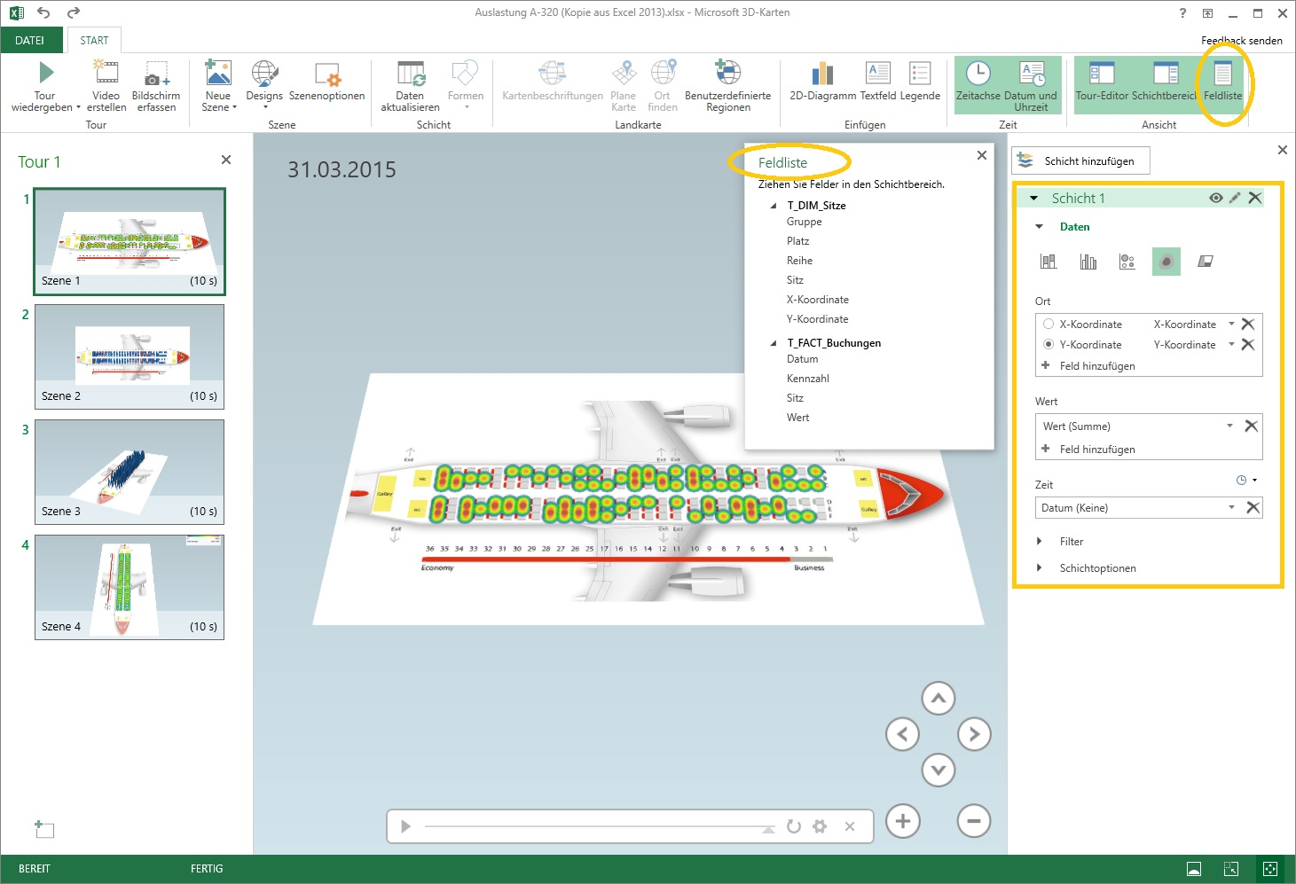 3-2 Excel 2016 Power Map User Interface